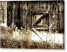 Acrylic Print featuring the photograph Weathered Barn Door by Gray  Artus
