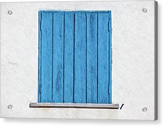 Weathered Blue Shutter Acrylic Print by David Letts