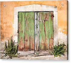 Weathered Green Door Of Tuscany Acrylic Print by David Letts