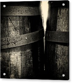 Acrylic Print featuring the photograph Weathered Old Apple Barrels by Bob Orsillo