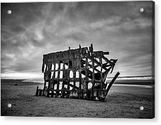 Weathered Rusting Shipwreck In Black And White Acrylic Print