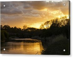 Weaver Sunset River Of Gold Acrylic Print