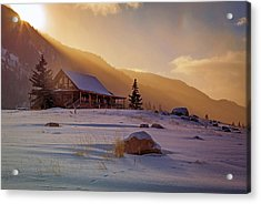 Acrylic Print featuring the photograph Weber Canyon Cabin Sunrise. by Johnny Adolphson
