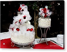 Wedding Cake And Red Roses Acrylic Print by Andee Design
