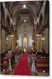 Wedding In Manila Cathedral Acrylic Print by Mike Holloway