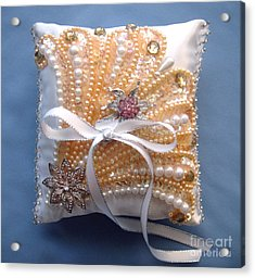 Wedding Ring Pillow. Handwork 07 Acrylic Print by Sofia Metal Queen