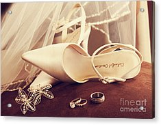 Wedding Shoes With Veil And Rings On Velvet Chair Acrylic Print by Sandra Cunningham