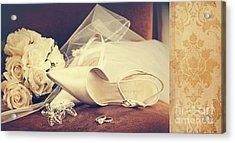 Wedding Shoes With Veil On Velvet Chair Acrylic Print by Sandra Cunningham