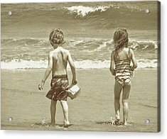 Wee Beachcombers Acrylic Print by JAMART Photography