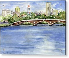 Weeks Footbridge Over The Charles River Acrylic Print by Erica Dale Strzepek