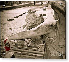 Weeping Angel In Winter Acrylic Print by Sonja Quintero