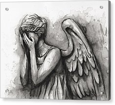 Weeping Angel Watercolor Acrylic Print by Olga Shvartsur