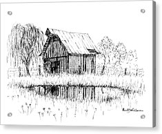 Weeping Willow And Barn Two Acrylic Print