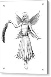 Weeping Willow Fairy With Catkin B And W Acrylic Print