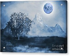 Weeping Willow Acrylic Print by KaFra Art