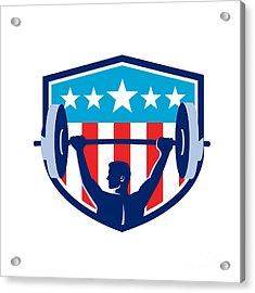 Weightlifter Lifting Barbell Rear Flag Shield Retro Acrylic Print