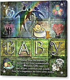 Welcome Baby Acrylic Print by Evie Cook