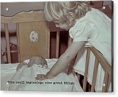 Welcome Baby Quote Acrylic Print by JAMART Photography