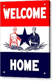 Vintage Welcome Home Military Sign Acrylic Print