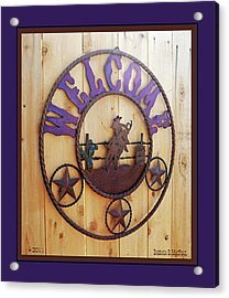 Welcome In Purple Acrylic Print by Barbara MacPhail