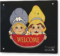 Welcome Sign - Watermelon Kids Acrylic Print