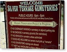 Welcome Silver Terrace Cemeteries Acrylic Print by LeeAnn McLaneGoetz McLaneGoetzStudioLLCcom