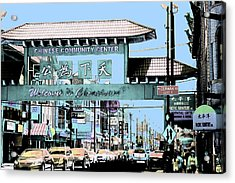 Acrylic Print featuring the photograph Welcome To Chinatown Sign Blue by Marianne Dow