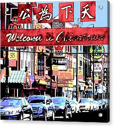 Acrylic Print featuring the photograph Welcome To Chinatown Sign Red by Marianne Dow