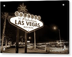 Acrylic Print featuring the photograph Welcome To Fabulous Las Vegas - Neon Sign In Sepia by Gregory Ballos