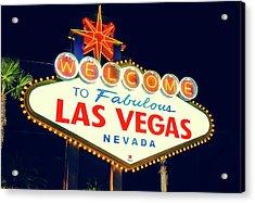Welcome To Las Vegas Neon Sign - Nevada Usa Acrylic Print by Gregory Ballos