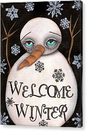 Welcome Winter Acrylic Print by  Abril Andrade Griffith