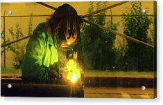 Welder 3 Acrylic Print by Andrew Wohl