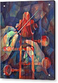 Well Conducted - Painting Of Cello Head And Conductor's Hands Acrylic Print by Susanne Clark