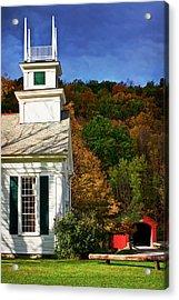 West Arlington Church And Covered Bridge Acrylic Print by Priscilla Burgers