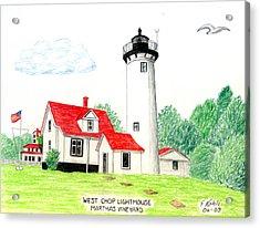 West Chop Lighthouse Acrylic Print by Frederic Kohli