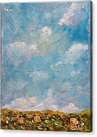 Acrylic Print featuring the painting West Field Seedlings by Judith Rhue