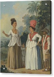 West Indian Women Of Color, With A Child And Black Servant Acrylic Print by Agostino Brunias
