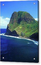 West Maui Ocean Cliff Acrylic Print by John Burk