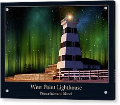 West Point Lighthouse Night Scene Acrylic Print