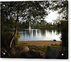 Acrylic Print featuring the painting West View Of Lafarge Lake by Rod Jellison