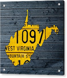 West Virginia State Recycled Vintage License Plate Map Art Acrylic Print by Design Turnpike