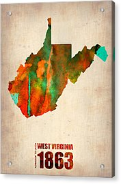 West Virginia Watercolor Map Acrylic Print by Naxart Studio