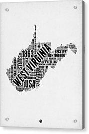 West Virginia Word Cloud Map 2 Acrylic Print