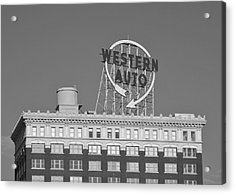 Western Auto Building Of Kansas City Missouri Bw Acrylic Print