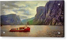 Acrylic Print featuring the painting Western Brook Pond by Jeff Kolker