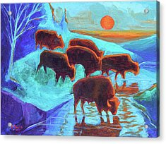 Western Buffalo Art Six Bison At Sunset Turquoise Painting Bertram Poole Acrylic Print by Thomas Bertram POOLE
