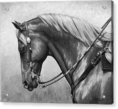 Western Horse Black And White Acrylic Print