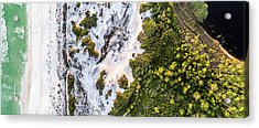 Western Lake Meets The Gulf At Graytom Beach State Park Aerial Acrylic Print