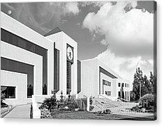 Western Michigan University Stewart Clocktower And Waldow Library Acrylic Print by University Icons