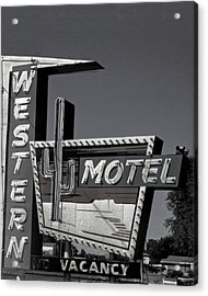 Acrylic Print featuring the photograph Western Motel In Black And White by Matthew Bamberg